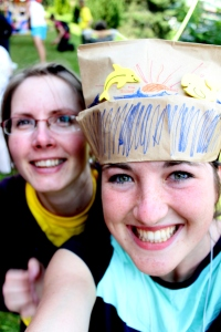With a friend at our make-shift circus at English Camp! I made the hat myself.