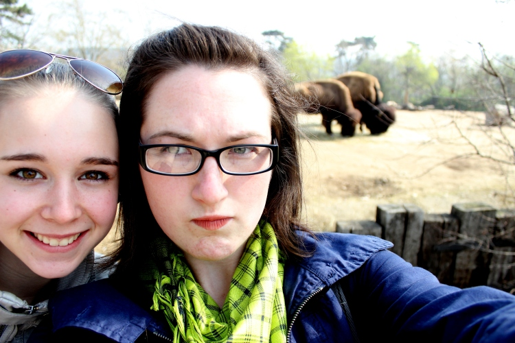 Me, our darling freckly blonde and some Polish bison.