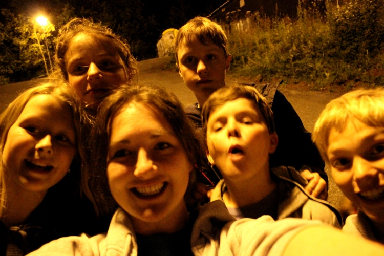 Some of my kids at English Camp. We're trying to make a record selfie but it was a little too dark and the camera was a little too unsteady.