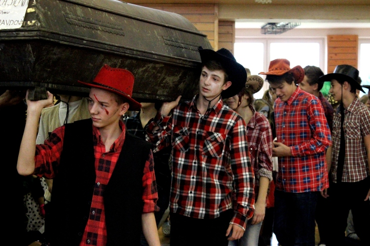 Some of our 9th graders at the Halloween Parade last year as Zombie Cowboys.